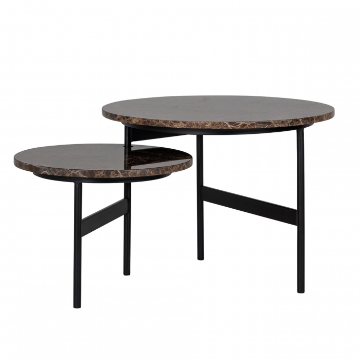 Set 2 masute Dalton, Marmura/Fier, Negru/Maro, 45/34x60/45x60/45 cm [0]