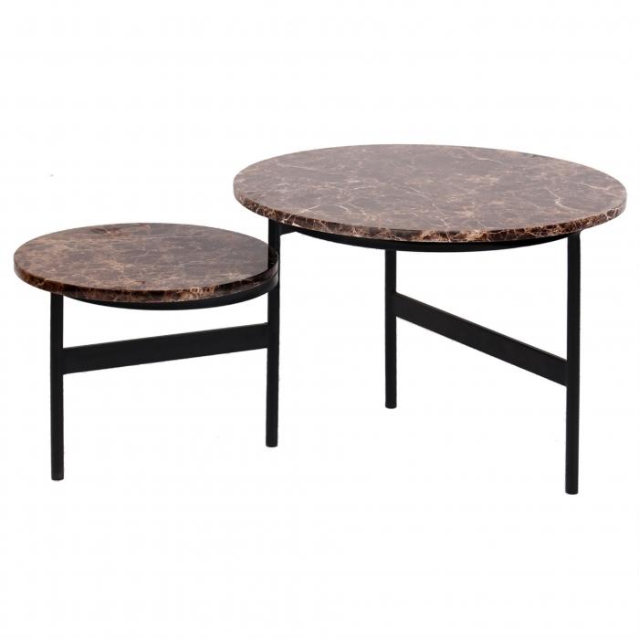 Set 2 masute Dalton, Marmura/Fier, Negru/Maro, 45/34x60/45x60/45 cm [1]