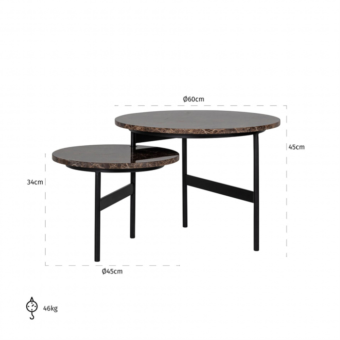Set 2 masute Dalton, Marmura/Fier, Negru/Maro, 45/34x60/45x60/45 cm [2]