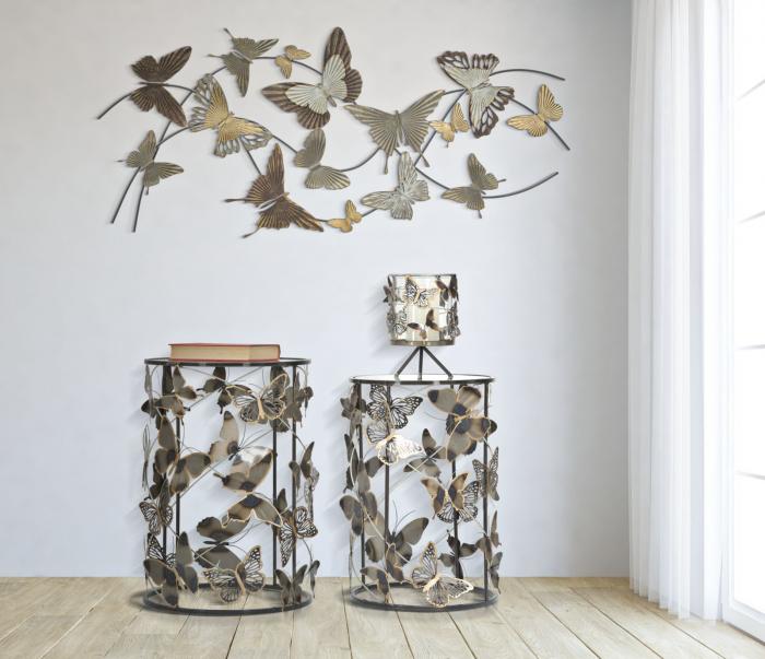 Set 2 masute Farfalle, fier/sticla, multicolor, 41,3X55-35X50,3 cm [0]