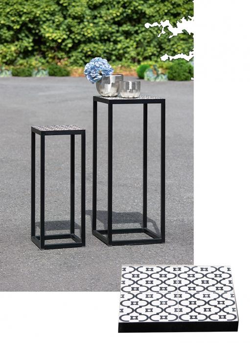 Set 2 masute consola interior exterior CONCRETO, metal ceramica, 100x40x40 cm imagine 2021 lotusland.ro