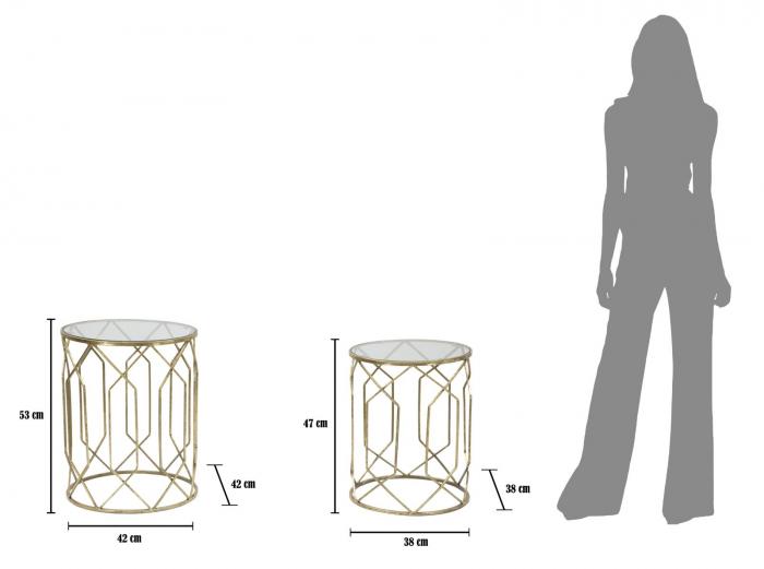 Set 2 masute TUNISI (cm) Ø 42X53-38X47 9