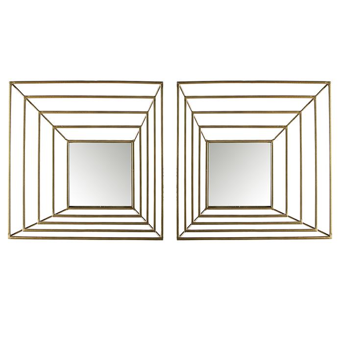 Set 2 oglinzi Shift, metal, auriu, 6.5x40.5x40.5 cm lotusland.ro