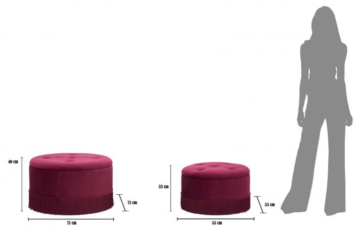 Set 2 pufuri cu spatiu de depozitare LINES (cm) Ø 71X41-55X33 7