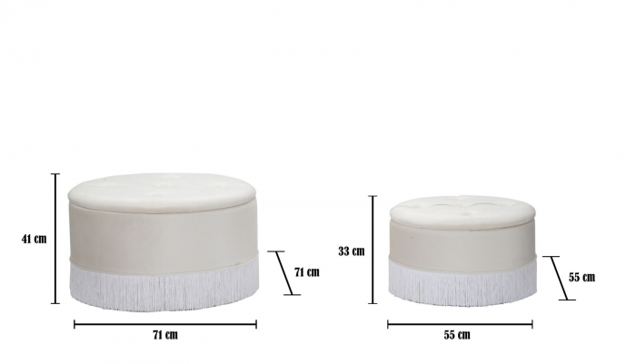 Set 2 pufuri cu spatiu de depozitare LINES (cm) Ø 71X41-55X33 6