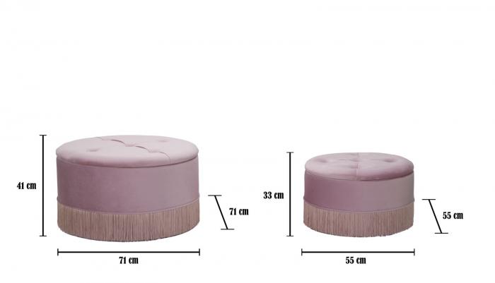Set 2 pufuri cu spatiu de depozitare LINES (cm) Ø 71X41-55X33 5