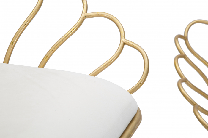 Set 2 scaune bar GLAM FLOWER, alb,  CM 57X52X94-56X48X72,50, Mauro Ferretti [4]