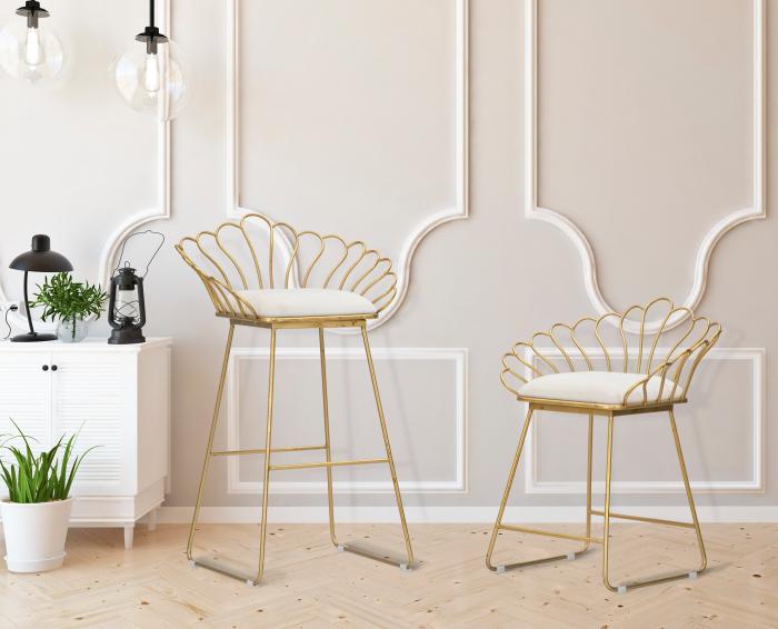 Set 2 scaune bar GLAM FLOWER, alb, CM 57X52X94-56X48X72,50, Mauro Ferretti 2021 lotusland.ro