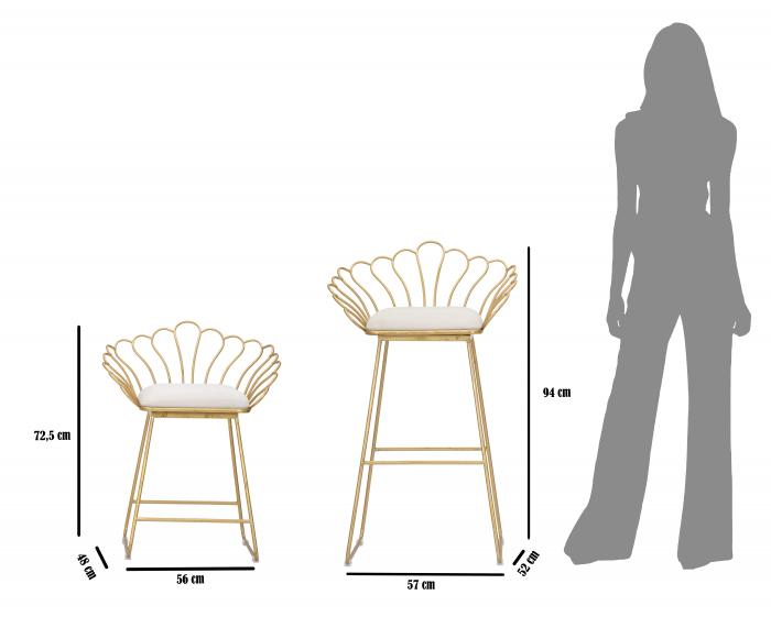 Set 2 scaune bar GLAM FLOWER, alb,  CM 57X52X94-56X48X72,50, Mauro Ferretti [8]