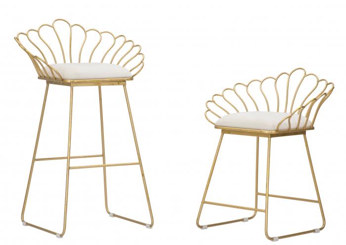 Set 2 scaune bar GLAM FLOWER, alb,  CM 57X52X94-56X48X72,50, Mauro Ferretti [1]