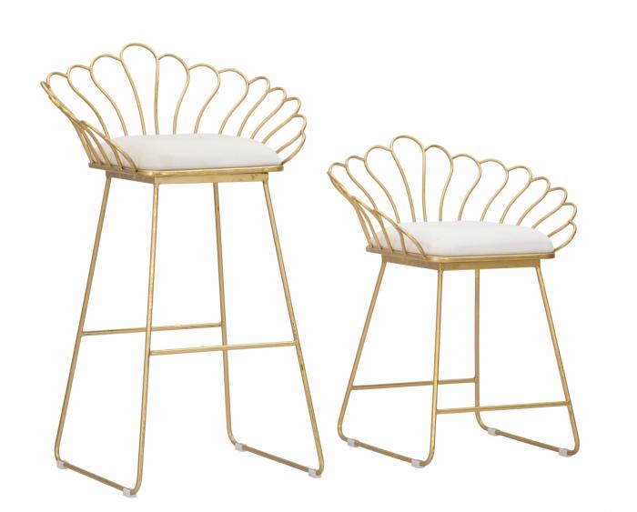 Set 2 scaune bar GLAM FLOWER, alb,  CM 57X52X94-56X48X72,50, Mauro Ferretti [7]
