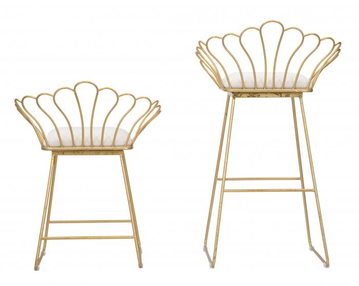 Set 2 scaune bar GLAM FLOWER, alb,  CM 57X52X94-56X48X72,50, Mauro Ferretti [2]