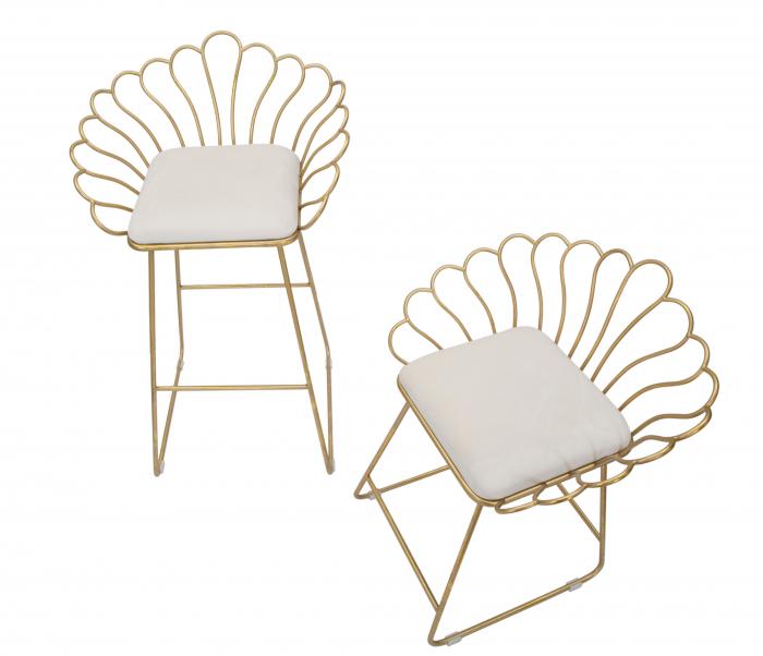 Set 2 scaune bar GLAM FLOWER, alb,  CM 57X52X94-56X48X72,50, Mauro Ferretti [5]