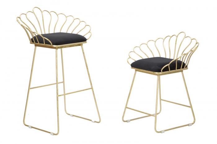 Set 2 scaune de bar GLAM FLOWER  (cm) 57X52X94-56X48X72,50 2