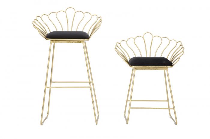 Set 2 scaune de bar GLAM FLOWER  (cm) 57X52X94-56X48X72,50 8