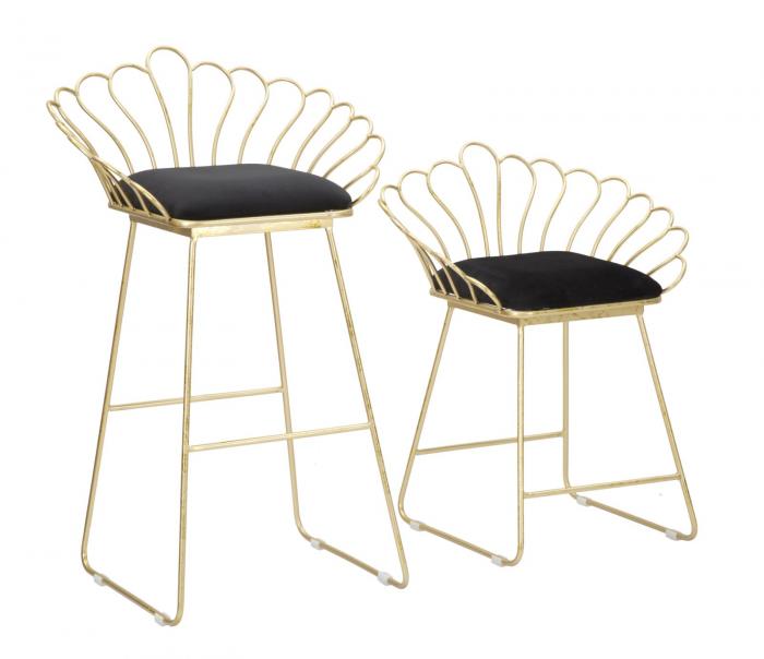 Set 2 scaune de bar GLAM FLOWER  (cm) 57X52X94-56X48X72,50 0