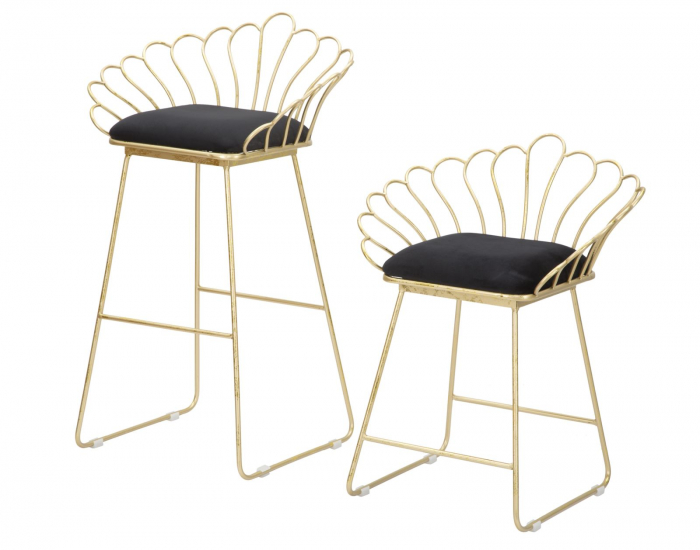 Set 2 scaune de bar GLAM FLOWER  (cm) 57X52X94-56X48X72,50 7