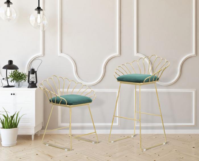 Set 2 scaune de bar GLAM FLOWER  (cm) 57X52X94-56X48X72,50 9