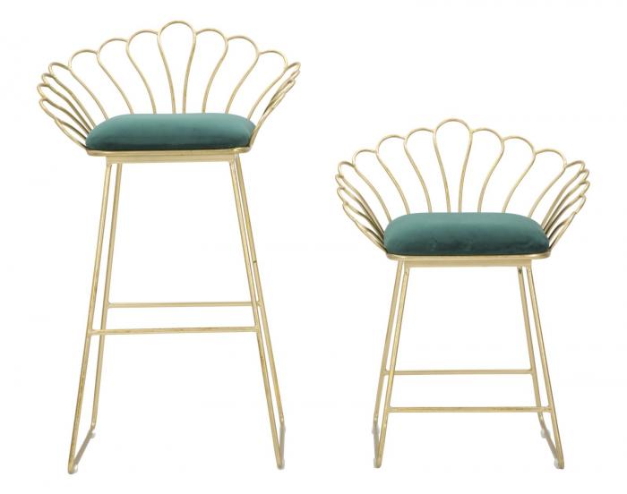 Set 2 scaune de bar GLAM FLOWER  (cm) 57X52X94-56X48X72,50 1