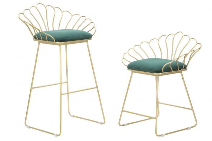 Set 2 scaune de bar GLAM FLOWER  (cm) 57X52X94-56X48X72,50 5