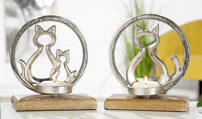 Set 2 suporturi lumanari Ring with Cat, aluminiu lemn, argintiu maro, 18x20 cm 2021 lotusland.ro