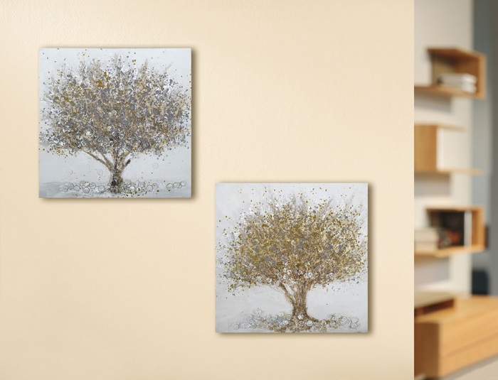 Set 2 tablouri Tree, panza, multicolor, 50x50 cm 2021 lotusland.ro