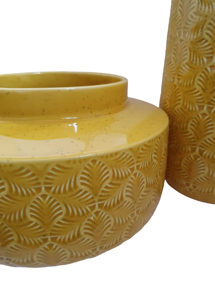 Set 3 piese Lampa, vaza, bol ANTWERP , ceramica, galben, 30/20/15 cm 1