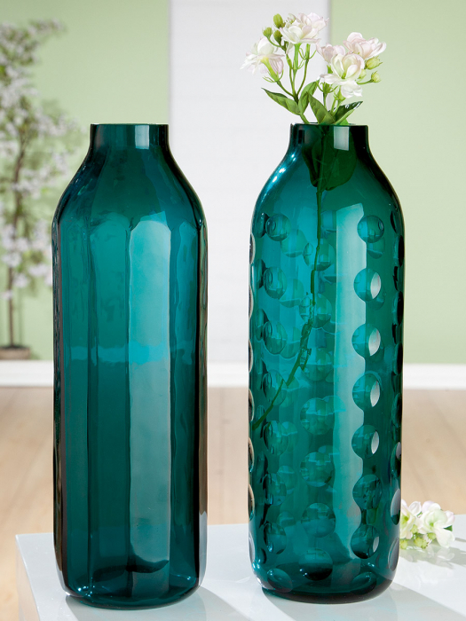 Set 2 vaze TINTA, sticla, 6.8x38.5cm 2021 lotusland.ro