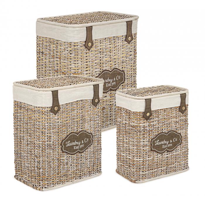 Set 3 cosuri de rufe Provencal, Ratan Bambus, Maro, 38 43 48x25 30 36x48 53 58 cm image0