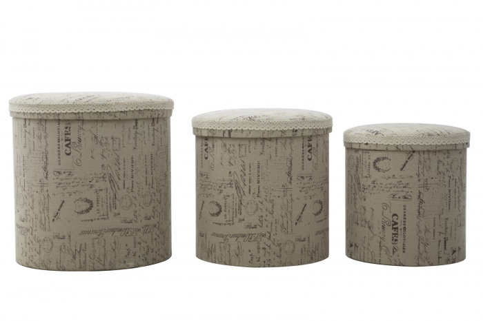 Set 3 cutii depozitare (cm) 44X44 - 38X38 - 34X34 imagine 2021 lotusland.ro