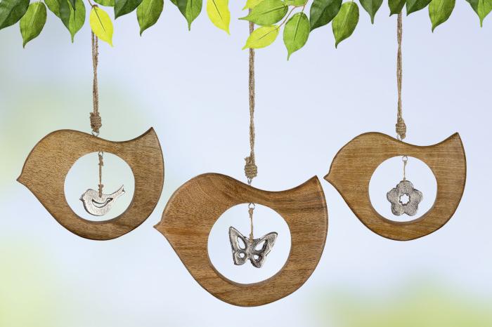 Set 3 decoratiuni Bird, aluminiu lemn, argintiu maro, 23x18x1 cm lotusland.ro