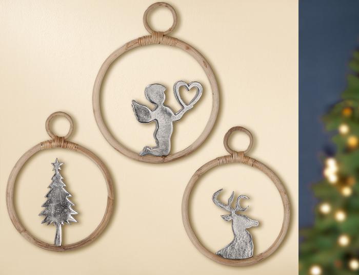 Set 3 decoratiuni CIRCLE, aluminiu mango, 37x1.5 cm imagine 2021 lotusland.ro