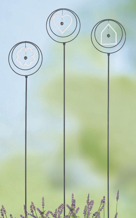 Poza Set 3 decoratiuni de gradina, metal, argintiu, 16x110x0.5 cm