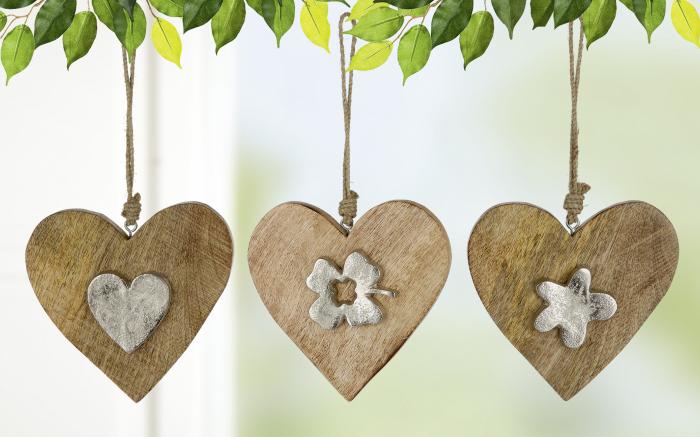 Set 3 decoratiuni Heart, aluminiu lemn, argintiu maro, 15x27x1.5 cm lotusland.ro