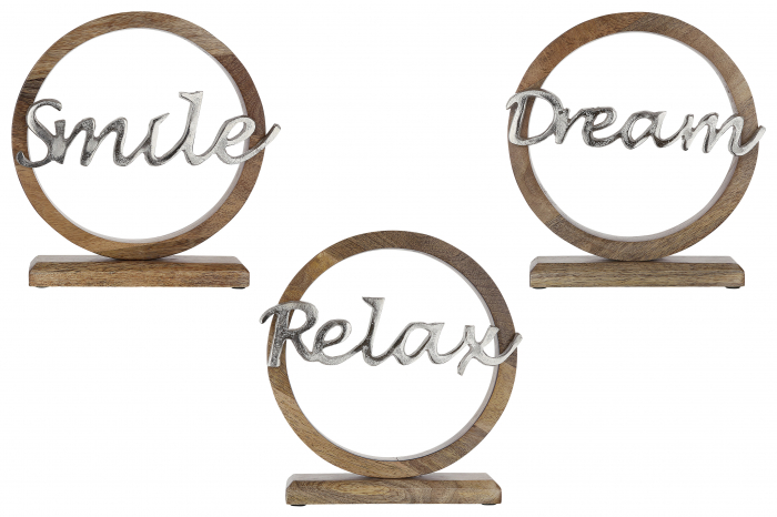 Set 3 decoratiuni SMILE/DREAM/RELAX, aluminiu/mango, 36x26.5x5 cm (x3) 1