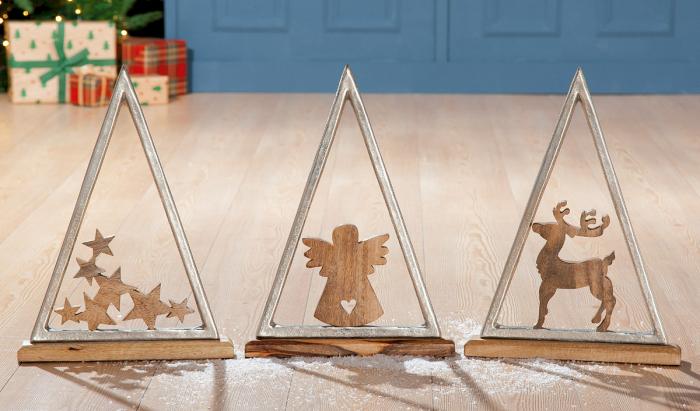 Set 3 decoratiuni X mas Pyramide, aluminiu lemn, 30.5x5x42 cm imagine 2021 lotusland.ro