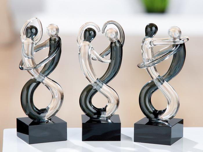 Set 3 figurine DANCER, sticla, 10.5x4x4 cm 0