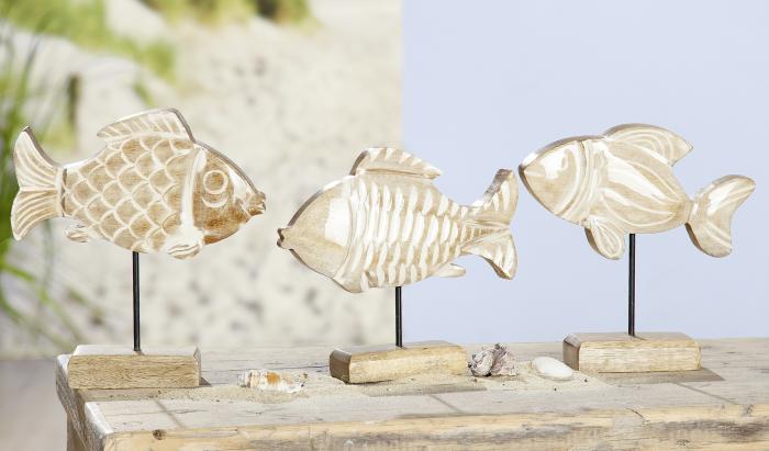 Set 3 figurine Fish on Stick, lemn, maro, 19x19x5 cm imagine 2021 lotusland.ro