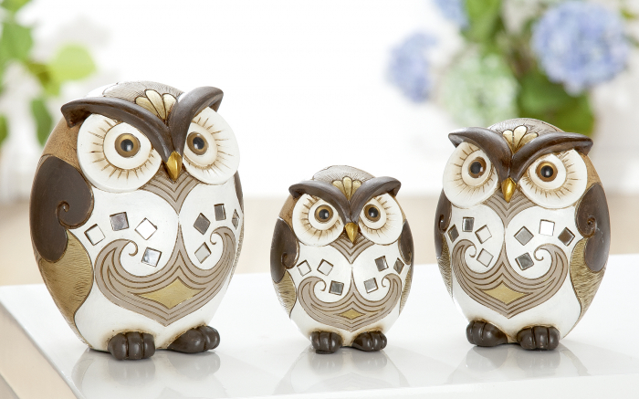 Set 3 figurine owl Minos, rasina, multicolor, 7.5x10x7 cm 2021 lotusland.ro
