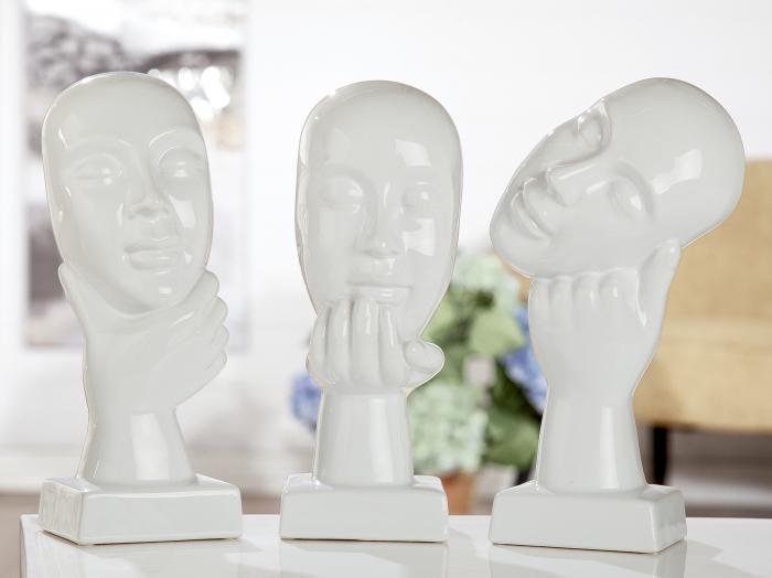 Set 3 figurine Thinking, ceramica, alb, 15.5x30x35.5 cm lotusland.ro