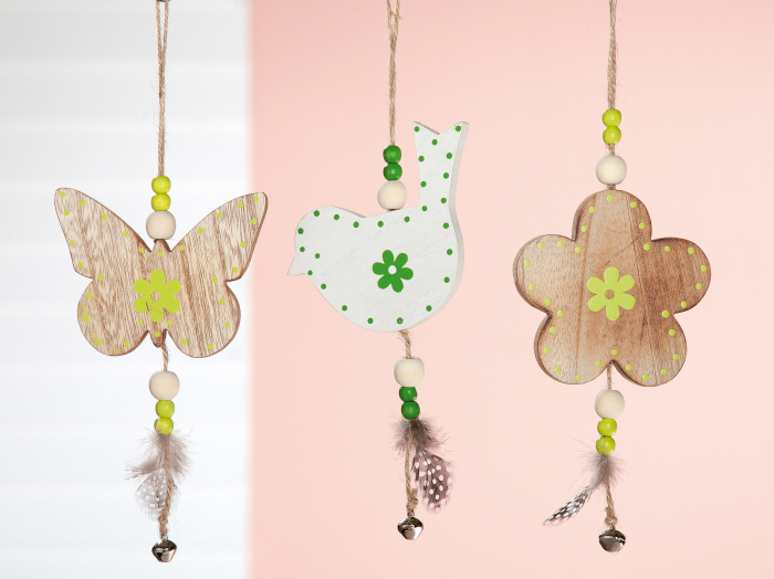 Set 3 ghirlande Butterfly, Bird, Flower, MDF, multicolor, 11x26x1 cm lotusland.ro