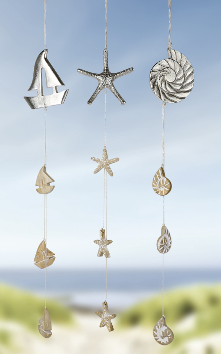Set 3 ghirlande Shell Boat Starfis, lemn, maro argintiu, 90x12 cm lotusland.ro