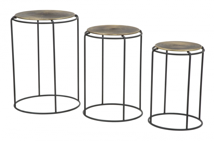 Set 3 masute metalice, 48X66.5 cm-42X59.5 cm-36X52.5 cm, Mauro Ferretti [0]