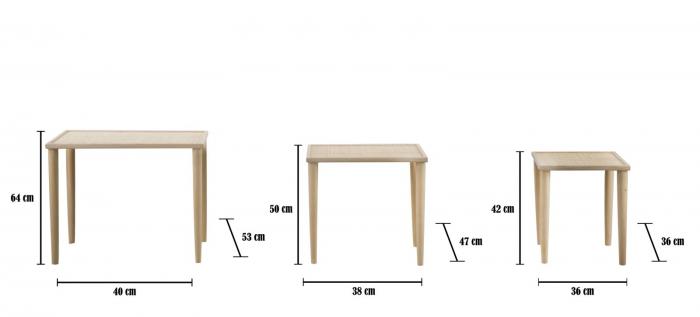 Set 3 masute PAGLIA DI VIENNA (cm) 64X40X53-50X38X47-36X36X42  8