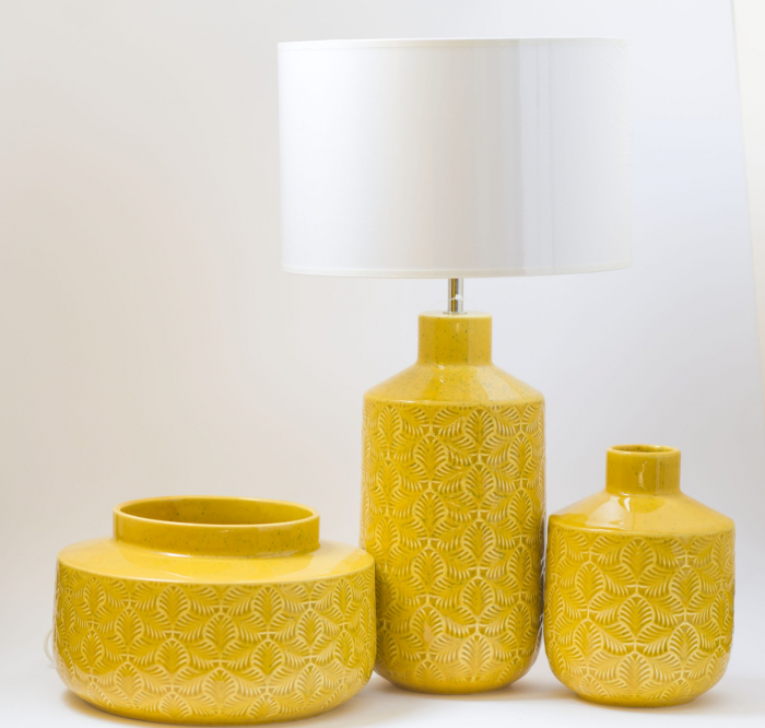 Set 3 piese Lampa, vaza, bol ANTWERP , ceramica, galben, 30/20/15 cm 0