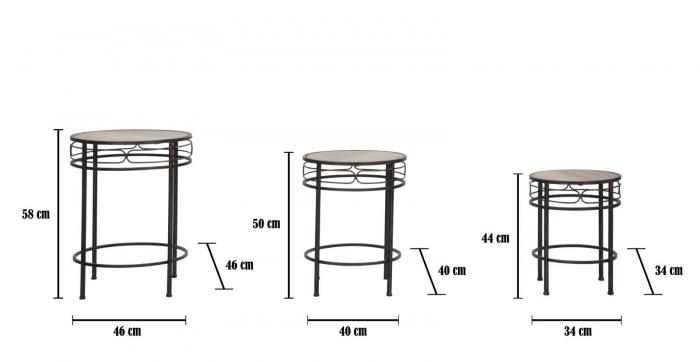 Set 3 suporturi pentru flori ESSENTIAL TRIS (cm) Ø 46X58-40X50-34X44 9