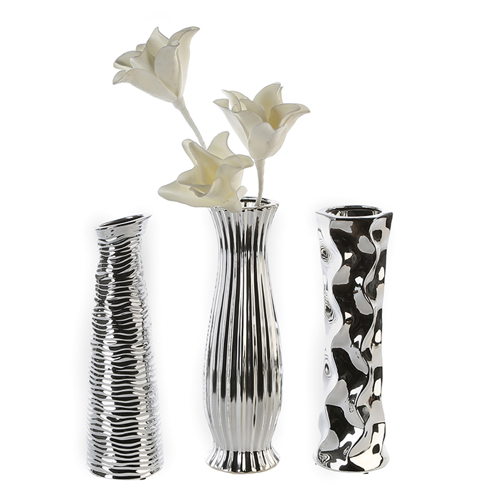 Set 3 vaze Diverso argintiu, portelan, 33.5 cm lotusland.ro