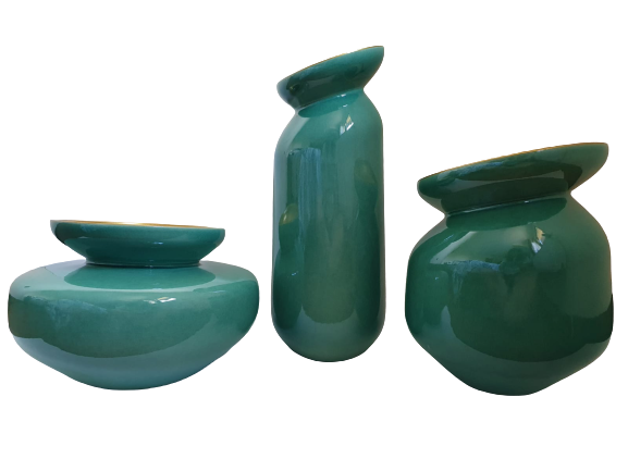 Set 3 vaze HERITAGE, ceramica, albastru, 41/34/7.5 cm 2