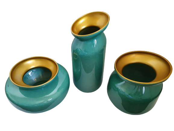 Set 3 vaze HERITAGE, ceramica, albastru, 41/34/7.5 cm 0