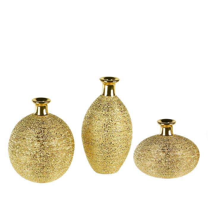 Set 3 vaze Miro ceramica glazurata, auriu, 15 cm 0